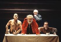 KING LEAR   by Shakespeare   director: Adrian Noble <br>,l-r: Simon Russell Beale (Edgar/Poor Tom), Robert Stephens (King Lear), David Calder ( Kent), Ian Hughes (The Fool),Royal Shakespeare Company /...