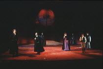 KING LEAR   by Shakespeare   director: Adrian Noble <br>,front, l-r: Owen Teale (Edmund), John Normington (Albany), Jenny Quayle (Regan), Janet Dale (Goneril),Royal Shakespeare Company / Royal Shakesp...