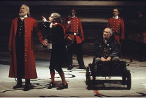 KING LEAR   by Shakespeare   director: Adrian Noble <br>,front, l-r: Robert Stephens (King Lear),Ian Hughes (The Fool), (in stocks) David Calder (Kent),Royal Shakespeare Company / Royal Shakespeare Th...