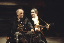 KING LEAR   by Shakespeare   director: Adrian Noble <br>,l-r: (in stocks) David Calder (Kent), Ian Hughes (The Fool) ,Royal Shakespeare Company / Royal Shakespeare Theatre, Stratford-upon-Avon   18/05...