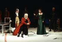KING LEAR   by Shakespeare   director: Adrian Noble <br>,front, l-r: Ian Hughes (The Fool), Robert Stephens (King Lear), Janet Dale (Goneril),Royal Shakespeare Company / Royal Shakespeare Theatre, Str...