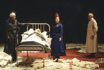 KING LEAR   by Shakespeare   director: Adrian Noble <br>,left: David Calder ( Kent)    (in bed) Robert Stephens (King Lear)   centre: Abigail McKern (Cordelia),Royal Shakespeare Company / Royal Shakes...