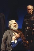 KING LEAR   by Shakespeare   director: Adrian Noble <br>,l-r: Robert Stephens (King Lear), Abigail McKern (Cordelia), David Calder ( Kent),Royal Shakespeare Company / Royal Shakespeare Theatre, Stratf...