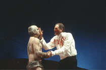 KING LEAR   by Shakespeare   director: Adrian Noble <br>,l-r: Simon Russell Beale (Edgar/Poor Tom), David Bradley (Gloucester),Royal Shakespeare Company / Royal Shakespeare Theatre, Stratford-upon-Avo...