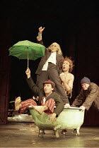 KING LEAR   by Shakespeare   design: Pawel Dobrzycki   director: Helena Kaut-Howson  ,l-r: Marcello Magni (Fool), Kathryn Hunter (King Lear), Simon Roberts (Edgar), Colin McCormack (Kent),Leicester Ha...