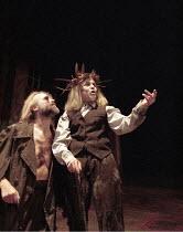 KING LEAR   by Shakespeare   design: Pawel Dobrzycki   director: Helena Kaut-Howson <br> ,Robert Pickavance (Gloucester), Kathryn Hunter (King Lear),Leicester Haymarket Theatre, Leicester   England...