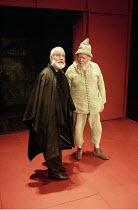 KING LEAR  by Shakespeare  design: Bob Crowley  lighting: Jean Kalman  director: Richard Eyre <br> ~l-r: Ian Holm (King Lear), Michael Bryant (Fool)~Cottesloe Theatre, National Theatre (NT), London SE...
