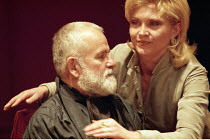 KING LEAR  by Shakespeare  design: Bob Crowley  lighting: Jean Kalman  director: Richard Eyre <br> ~l-r: Ian Holm (King Lear), Amanda Redman (Regan), Michael Simkins (Cornwall), David Burke (Kent)~Cot...