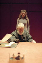 KING LEAR  by Shakespeare  design: Bob Crowley  lighting: Jean Kalman  director: Richard Eyre <br> ~Ian Holm (King Lear), Anne-Marie Duff (Cordelia)~Cottesloe Theatre, National Theatre (NT), London SE...