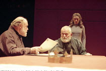 KING LEAR  by Shakespeare  design: Bob Crowley  lighting: Jean Kalman  director: Richard Eyre <br> ~l-r: Timothy West (Gloucester), Ian Holm (King Lear), Anne-Marie Duff (Cordelia)~Cottesloe Theatre,...