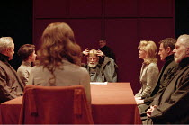 KING LEAR  by Shakespeare  design: Bob Crowley  lighting: Jean Kalman  director: Richard Eyre <br> ~l-r: David Lyon (Albany), Barbara Flynn (Goneril), (back to camera) Anne-Marie Duff (Cordelia), Ian...