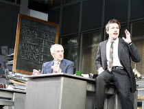 GLENGARRY GLEN ROSS   by David Mamet   design: Anthony Ward   director: James Macdonald <br>,l-r: Jonathan Pryce (Shelly Levene), Aidan Gillen (Richard Roma),Apollo Theatre, London W1    12/10/2007...