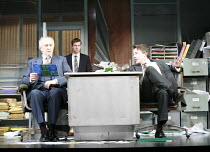GLENGARRY GLEN ROSS   by David Mamet   design: Anthony Ward   director: James Macdonald <br>,l-r: Jonathan Pryce (Shelly Levene), Tom Smith (James Lingk), Aidan Gillen (Richard Roma),Apollo Theatre, L...