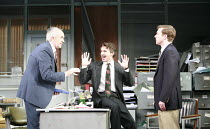 GLENGARRY GLEN ROSS   by David Mamet   design: Anthony Ward   director: James Macdonald <br>,l-r: Jonathan Pryce (Shelly Levene), Aidan Gillen (Richard Roma), Tom Smith (James Lingk),Apollo Theatre, L...