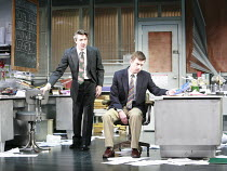 GLENGARRY GLEN ROSS   by David Mamet   design: Anthony Ward   director: James Macdonald <br>,l-r: Tom Smith (James Lingk), Aidan Gillen (Richard Roma), ,Apollo Theatre, London W1    12/10/2007...