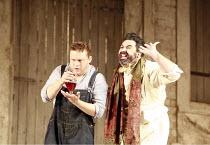 L^ELISIR D^AMORE   music: Gaetano Donizetti   libretto: Felice Romani   ,conductor: Enrique Mazzola   design: Lez Brotherston   director: Annabel Arden <br>,l-r: Peter Auty (Nemorino) with the elixir,...