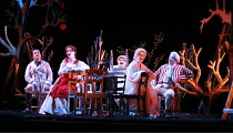 COUNTRY MATTERS   by Haydn   conductor: Justin Doyle   director: Liam Steel <br>,l-r: Jonathan Gunthorpe (Nanni), Charlotte Ellett (Vespina), Huw Rhys-Evans (Filippo), Lorina Gore (Sandrina), Andrew S...