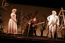 COUNTRY MATTERS   by Haydn   conductor: Justin Doyle   director: Liam Steel <br>,l-r: Lorina Gore (Sandrina), Charlotte Ellett (Vespina - in disguise), Huw Rhys-Evans (Filippo),English Touring Opera (...