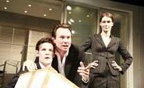 SWIMMING WITH SHARKS   by George Huang   director: Wilson Milam <br>,l-r: Matt Smith (Guy), Christian Slater (Buddy Ackerman), Helen Baxendale (Dawn Lockard),Vaudeville Theatre, London WC2...