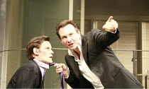 SWIMMING WITH SHARKS   by George Huang   director: Wilson Milam <br>,l-r: Matt Smith (Guy), Christian Slater (Buddy Ackerman),Vaudeville Theatre, London WC2                    16/10/2007...