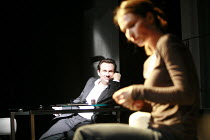 SWIMMING WITH SHARKS   by George Huang   director: Wilson Milam <br>,Christian Slater (Buddy Ackerman), Helen Baxendale (Dawn Lockard),Vaudeville Theatre, London WC2                    16/10/2007...