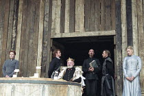 KING LEAR   by Shakespeare   director/Master of Play: Barry Kyle <br>,left: Patricia Kerrigan (Goneril)   centre: Julian Glover (Lear)   right: Felicity Dean (Regan),Shakespeare's Globe, London SE1...