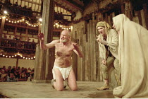 KING LEAR   by Shakespeare   director/Master of Play: Barry Kyle <br>,l-r: Julian Glover (Lear), John McEnery (Fool), Paul Brennen (Edgar/Poor Tom)   ,Shakespeare's Globe, London SE1              22/0...