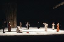 KING LEAR by Shakespeare  design: Hildegard Bechtler  lighting: Jean Kalman  director: Deborah Warner <br>~2nd left: Susan Engel (Goneril)   front right - l-r: Brian Cox (King Lear), Clare Higgins (Re...