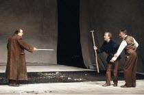 KING LEAR by Shakespeare  design: Hildegard Bechtler  lighting: Jean Kalman  director: Deborah Warner <br>~l-r: Nicholas Blane (Oswald), Derek Hutchinson (Edgar), Peter Jeffrey (Earl of Gloucester) ~L...