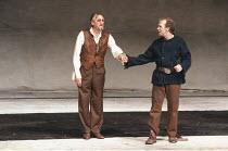 KING LEAR by Shakespeare  design: Hildegard Bechtler  lighting: Jean Kalman  director: Deborah Warner <br>~l-r: Peter Jeffrey (Earl of Gloucester), Derek Hutchinson (Edgar) ~Lyttelton Theatre, Nationa...