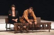 KING LEAR by Shakespeare  design: Hildegard Bechtler  lighting: Jean Kalman  director: Deborah Warner <br>~l-r: David Bradley (Lear's Fool), Ian McKellen (Earl of Kent),~Lyttelton Theatre, National Th...