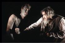 KING LEAR by Shakespeare  design: Hildegard Bechtler  lighting: Jean Kalman  director: Deborah Warner <br>~l-r: Derek Hutchinson (Edgar/Poor Tom), Brian Cox (King Lear) ~Lyttelton Theatre, National Th...