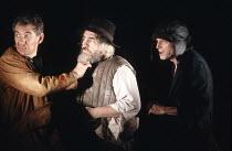 KING LEAR by Shakespeare  design: Hildegard Bechtler  lighting: Jean Kalman  director: Deborah Warner <br>~l-r: Ian McKellen (Earl of Kent), Brian Cox (King Lear), David Bradley (Lear's Fool) ~Lyttelt...