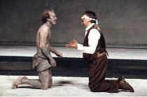 KING LEAR by Shakespeare  design: Hildegard Bechtler  lighting: Jean Kalman  director: Deborah Warner <br>~l-r: Derek Hutchinson (Edgar/Poor Tom), Peter Jeffrey (Earl of Gloucester) ~Lyttelton Theatre...
