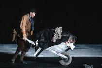 KING LEAR by Shakespeare  design: Hildegard Bechtler  lighting: Jean Kalman  director: Deborah Warner <br> Kent pushes Lear in wheelbarrow: Ian McKellen (Earl of Kent), Brian Cox (King Lear) Lyttelt...