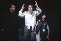 KING LEAR   by Shakespeare   director: Nicholas Hytner ,l-r: David Troughton (Kent), John Wood (Lear), Linda Kerr Scott (Lear^s Fool),Royal Shakespeare Company (RSC) / Royal Shakespeare Theatre     St...