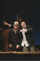 KING LEAR   by Shakespeare   director: Nicholas Hytner ,Norman Rodway (Earl of Gloucester), (rear, part obscured) Linus Roache (Edgar), John Wood (Lear),Royal Shakespeare Company (RSC) / Royal Shakesp...