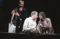 KING LEAR   by Shakespeare   director: Nicholas Hytner <br>,III/iv - l-r: Linda Kerr Scott (Lear^s Fool), David Troughton (Kent), John Wood (Lear), Linus Roache (Edgar),Royal Shakespeare Company (RSC)...