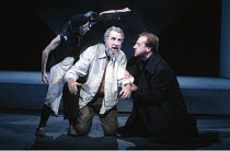 KING LEAR   by Shakespeare   director: Nicholas Hytner <br>,l-r: Linda Kerr Scott (Lear^s Fool), John Wood (Lear), David Troughton (Kent),Royal Shakespeare Company (RSC) / Royal Shakespeare Theatre...