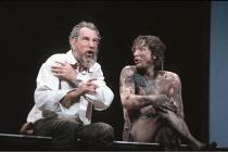 KING LEAR   by Shakespeare   director: Nicholas Hytner <br>,l-r: John Wood (Lear), Linus Roache (Edgar),Royal Shakespeare Company (RSC) / Royal Shakespeare Theatre     Stratford-upon-Avon   11/07/1990...