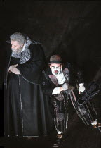 KING LEAR   by Shakespeare   designer: Bob Crowley   director: Adrian Noble <br>,l-r: Michael Gambon (King Lear), Antony Sher (Lear's Fool),Royal Shakespeare Company (RSC), Royal Shakespeare Theatre...