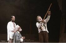 KING LEAR   by Shakespeare   design: Bob Crowley   director: Adrian Noble <br>,l-r: Jonathan Hyde (Edgar), David Waller (Earl of Gloucester), Michael Gambon (King Lear),Royal Shakespeare Company (RSC)...