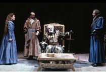 KING LEAR   by Shakespeare   design: Bob Crowley   director: Adrian Noble <br>,I/i - l-r: Alice Krige (Cordelia), Ken Bones (Duke of Burgundy), Michael Gambon (King Lear), John Bowe (King of France),R...
