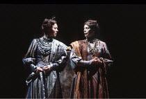 KING LEAR   by Shakespeare   design: Bob Crowley   director: Adrian Noble <br>,l-r: Jenny Agutter (Regan), Sara Kestelman (Goneril),Royal Shakespeare Company (RSC) / Barbican Theatre, London EC2...
