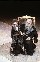 KING LEAR   by Shakespeare   designer: Bob Crowley   director: Adrian Noble <br>,l-r: Antony Sher (Lear's Fool), Michael Gambon (King Lear),Royal Shakespeare Company (RSC), Royal Shakespeare Theatre...