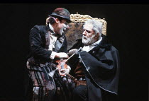 KING LEAR   by Shakespeare   design: Bob Crowley   director: Adrian Noble <br>,l-r: Antony Sher (Lear's Fool), Michael Gambon (King Lear),Royal Shakespeare Company (RSC) / Barbican Theatre, London EC2...