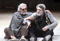 KING LEAR   by Shakespeare   design: Bob Crowley   director: Adrian Noble <br>,l-r: David Waller (Earl of Gloucester), Michael Gambon (King Lear),Royal Shakespeare Company (RSC) / Barbican Theatre, Lo...