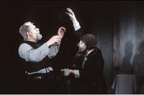 KING LEAR   by Shakespeare   design: Bob Crowley   director: Adrian Noble <br>,l-r: Michael Gambon (King Lear), Antony Sher (Lear's Fool),Royal Shakespeare Company (RSC) / Barbican Theatre, London EC2...