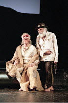 KING LEAR   by Shakespeare   design: Paul Andrews   director: Jude Kelly <br>,l-r: Trevor Baxter (Earl of Gloucester), Warren Mitchell (King Lear),West Yorkshire Playhouse (WYP) / Leeds, England...
