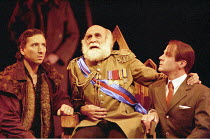 KING LEAR   by Shakespeare   design: Paul Andrews   director: Jude Kelly <br>,l-r: Christopher Wright (Duke of Cornwall), Warren Mitchell (King Lear), Michael Cashman (Duke of Albany),West Yorkshire P...